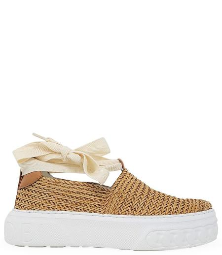 Casadei Natural Woven Leather Ankle Tie Slip On - NATURAL