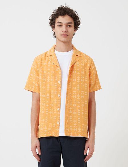 Folk Clothing Tile Print Soft Collar Shirt - Marigold