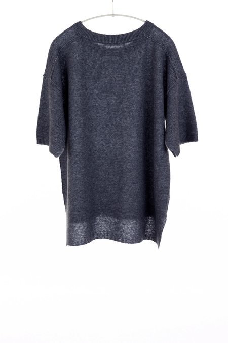 Paychi airy cashmere sweater with half sleeves - INDIGO