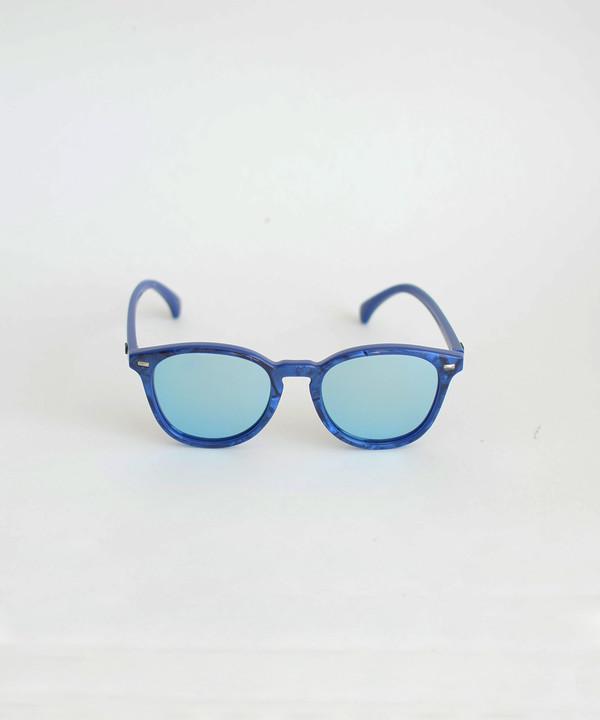 Le Specs Cobalt Marble Bandwagon Sunglasses