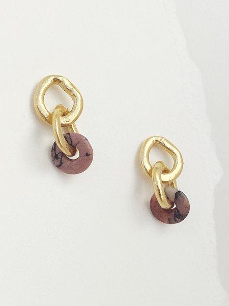 Mercurial NYC Rhodonite Chain Link Earrings