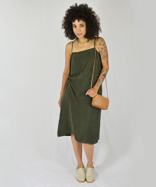 Objects Without Meaning Olive Twist Slip Dress
