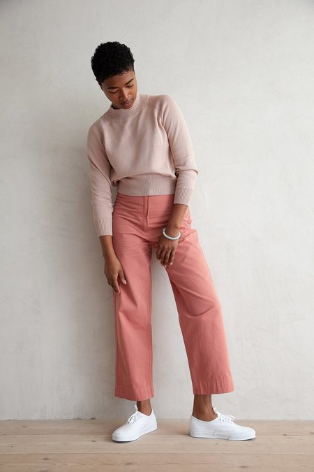 Ali Golden COTTON FLY FRONT PANT - SALMON
