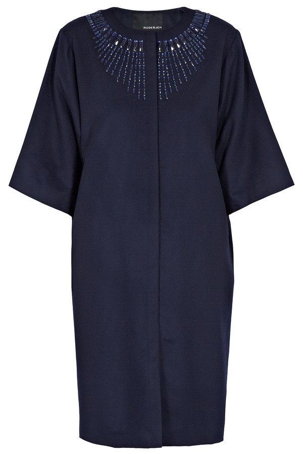 Rodebjer - Navy Blue Orbita Wool Dress Coat