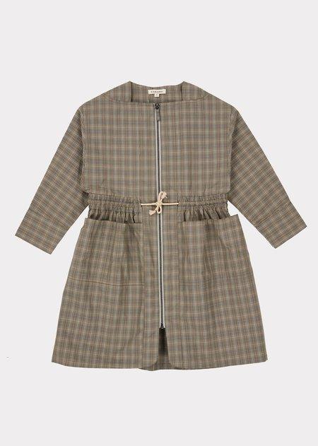 Kids Caramel Paddington Dress - Check Grey