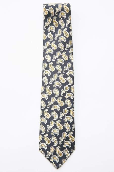 Beams Plus Paisley Print Silk Tie - NAVY