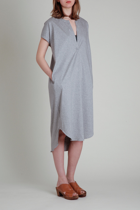 CT Plage Cotton Jersey Drape Dress - Light Grey