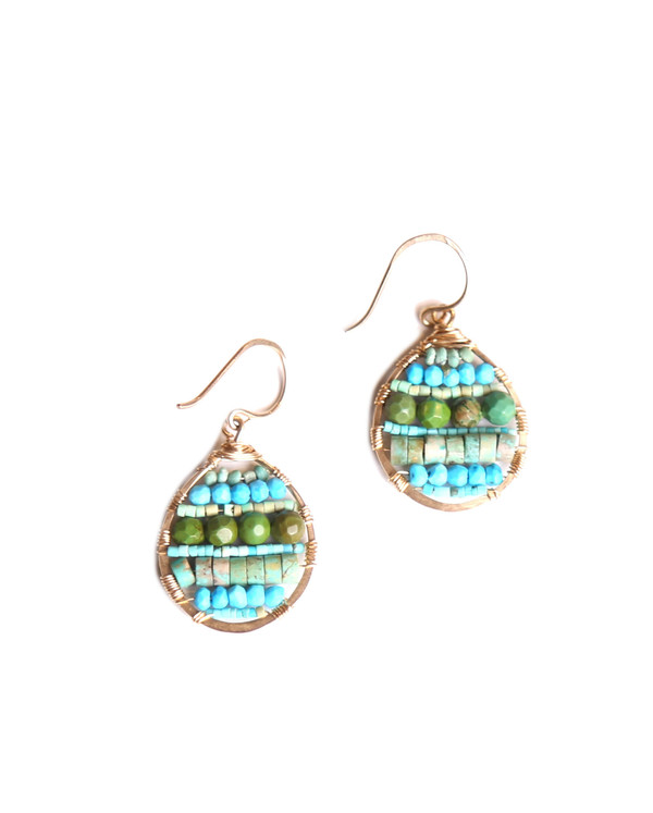 James and Jezebelle Turquoise Circle Paddle Earring