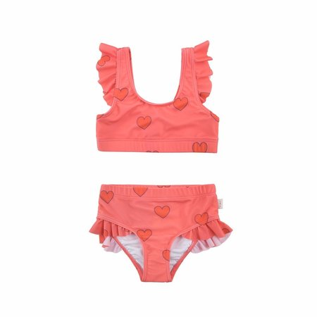 Kids Tinycottons Hearts Swim Set - Light Red/Red