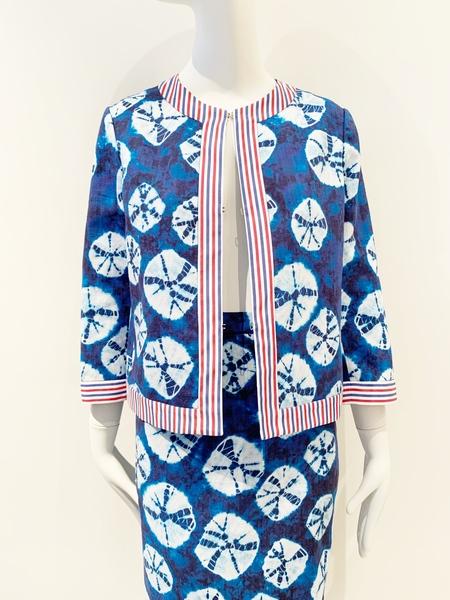 Stella Jean print blue tie dye print short jacket