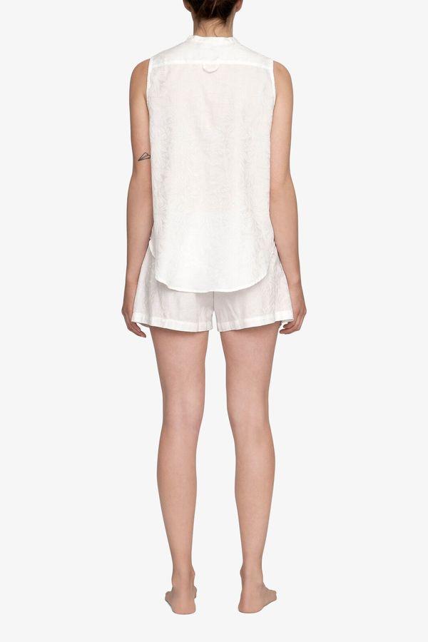 The Sleep Shirt Sleeveless Shirt Top White Palm Damask