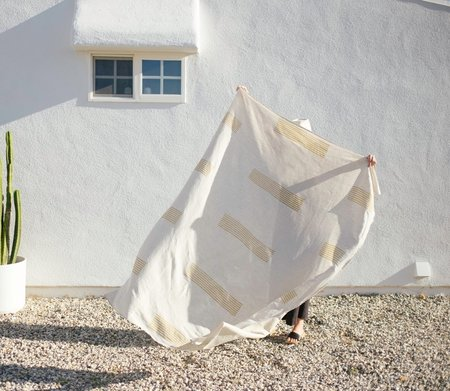 Kesslyr Dean Helen Block Print Linen Throw Blanket