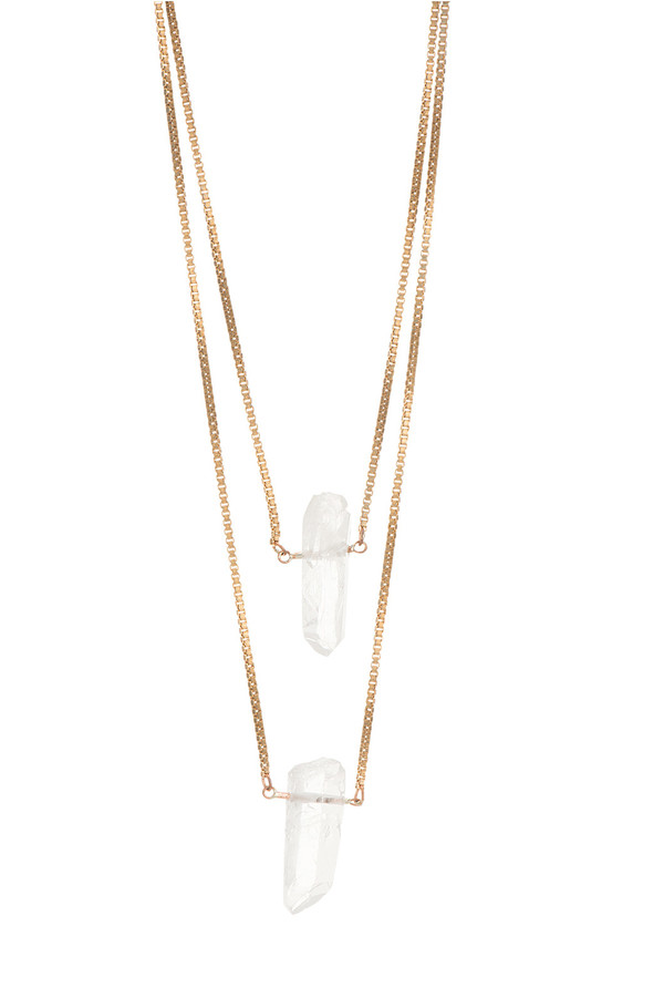 Ali Grace Rose Gold Double Crystal Necklace