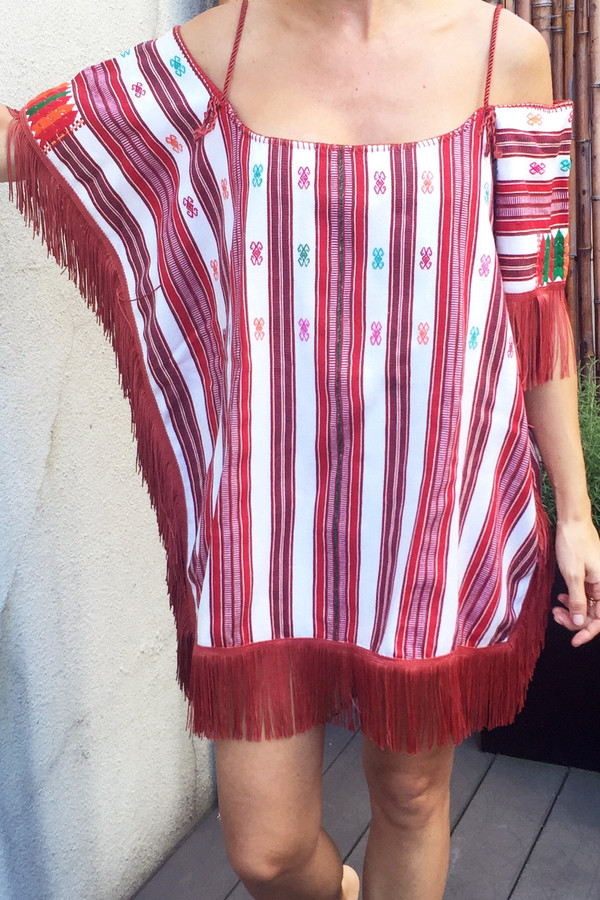 Jaline Mexican Huipil - Red and White Striped