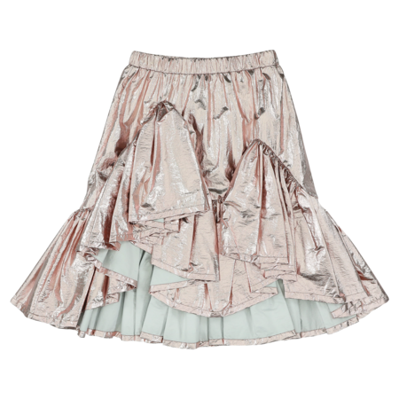 caroline bosmans metallic ruffle skirt - pink