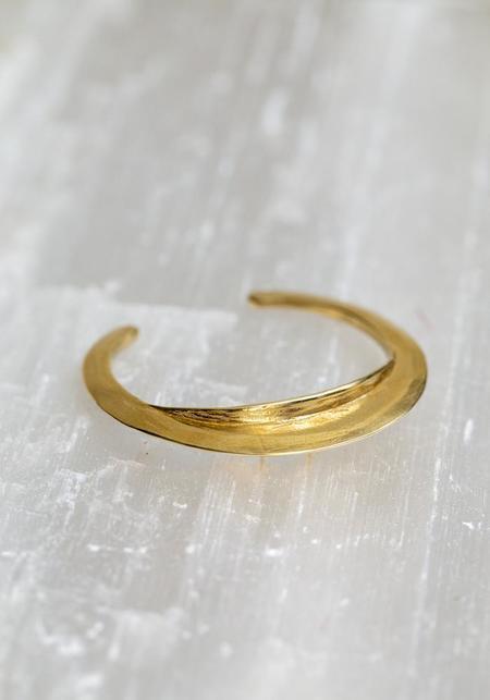 Water Sand Stone Brass Discus Cuff Bracelet - brass
