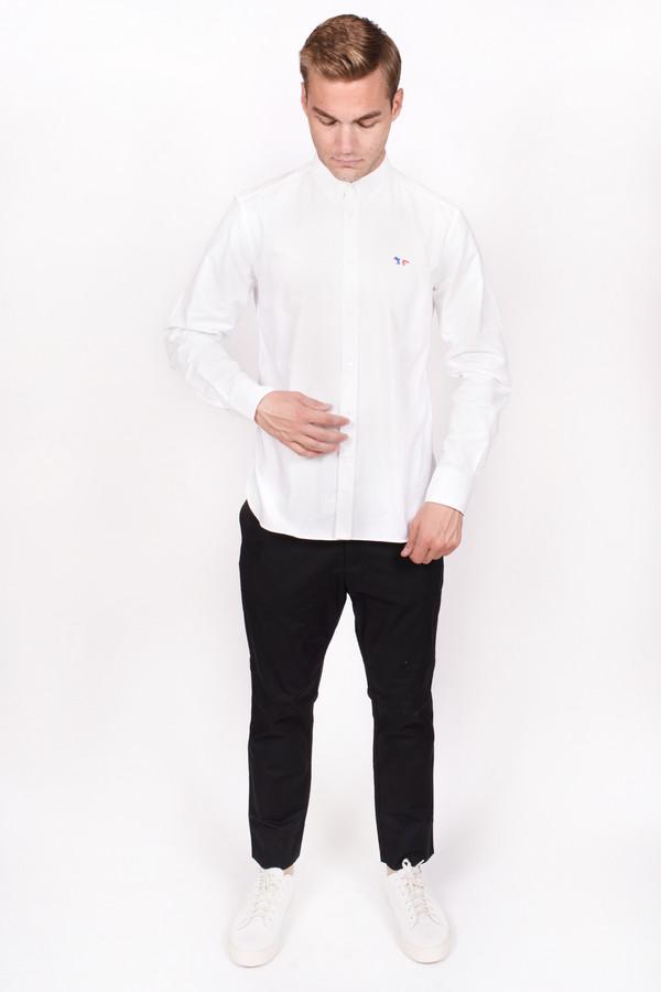 Men's Maison Kitsune Classic Oxford Button Down with Tricolor Patch White