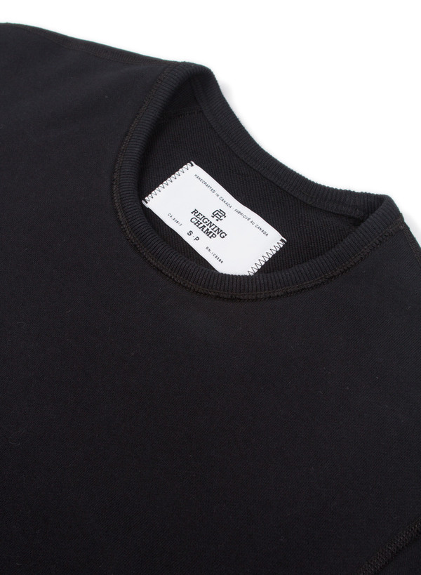 Reigning Champ Knit Midweight Terry Scalloped LS Crewneck Black