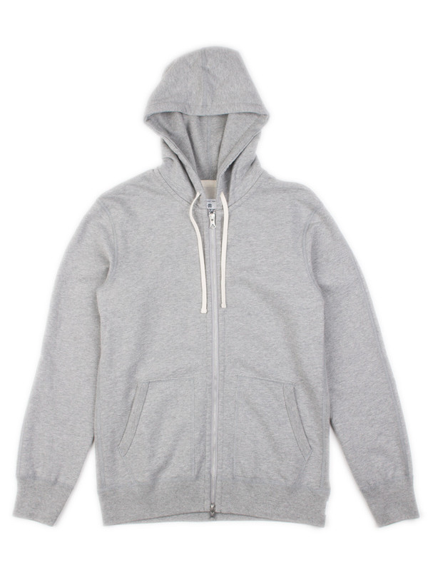 Reigning Champ Midweight Full-Zip Hoodie Heather Grey