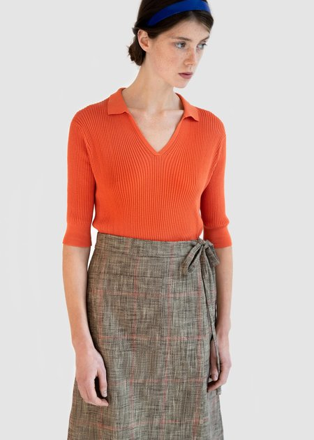 Caramel Wrap Workwear Skirt - Check