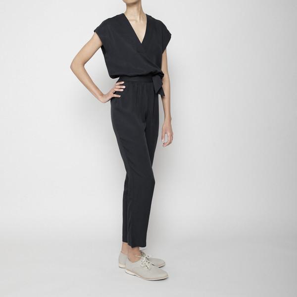 7115 by Szeki V-Neck Jumpsuit- Black FW16