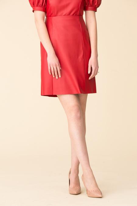 VEDA Alexa Leather Skirt - Tomato