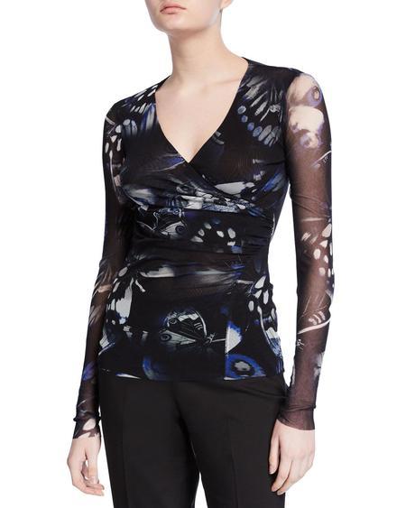 Fuzzi v neck drape fitted blouse - butterfly print