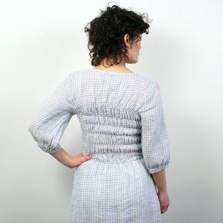 modaspia Fiji Dress W/Sleeve - Silver/Navy Grid Linen