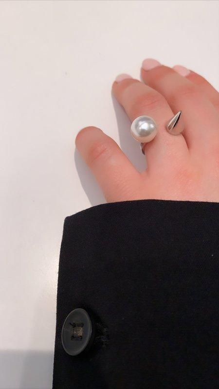 Joomi Lim Open Ring W/ Pearl & Spike - Rhodium/White