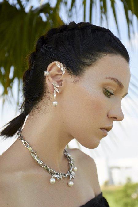 Joomi Lim Set of 3 Crystal & Pearl Earrings & Ear Cuff - Rhodium/Crystal/White