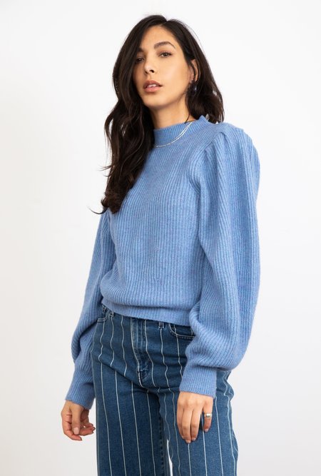 Azalea Ruth Puff Shoulder Sweater - Blue