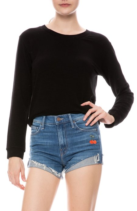 Monrow French Terry Sweatshirt - BLACK