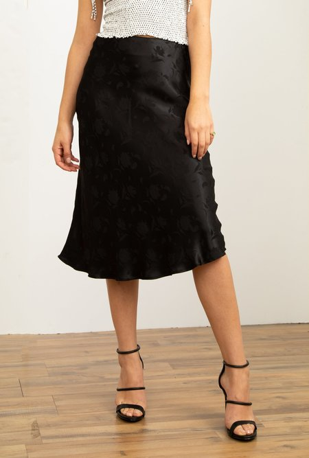 Azalea Audrey Satin Floral Bias Midi Skirt - Black