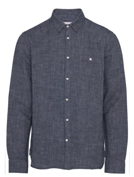 knowledge cotton apparel larch structured linen shirt - navy