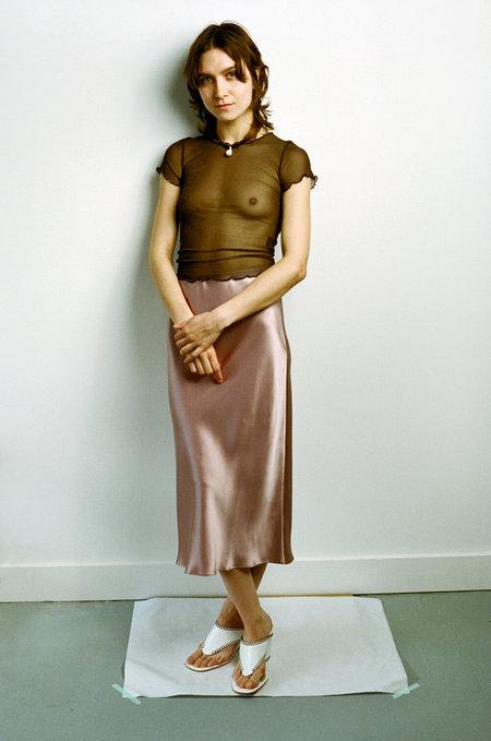 PRISCAVera Silk Slip Skirt - Clay