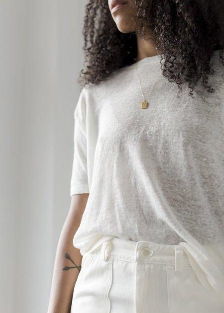 Line Knitwear Linen Crew - Chalk