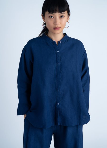 Unisex KAAREM Wholegrain Button-Up Shirt - Salt Blue
