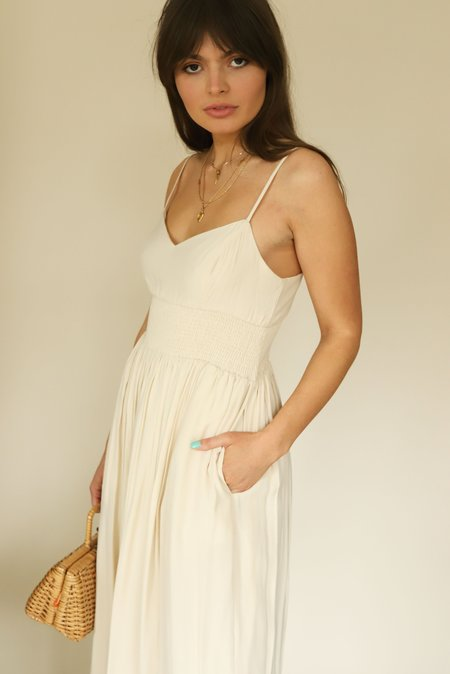 MOODIE Cream Smocked Waist Midi Dress