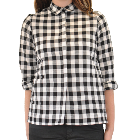 "Diarte ""Karol"" Long Sleeve Checked Blouse"