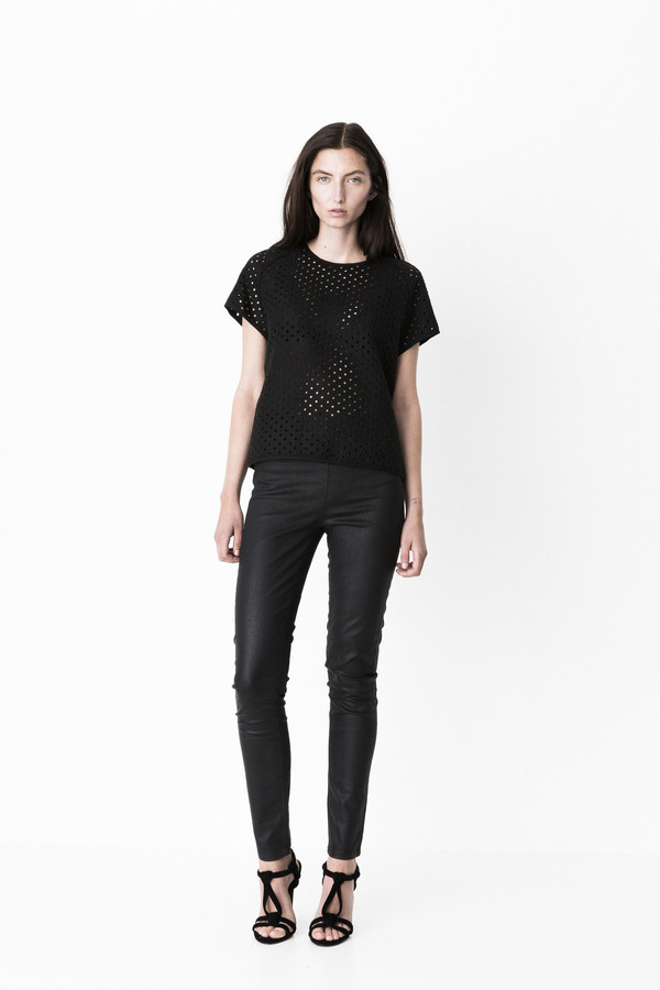 """Storm + Marie Storm and Marie """"Dot"""" Textured Structured Top"""