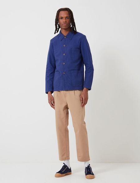 Vetra Short Cotton Drill French Workwear Jacket - Hydrone Blue