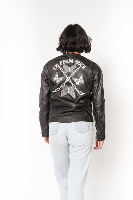 La Bete leather embroidered moto Jacket