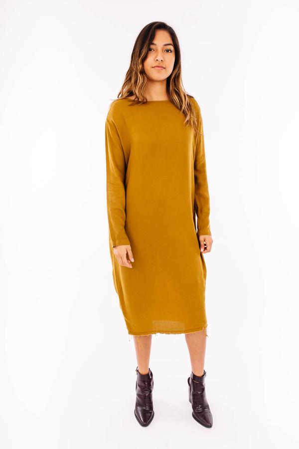 Black Crane Slim Dress (Gold Brown)