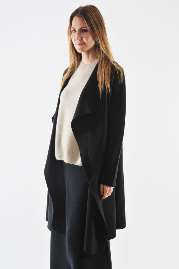 Oyuna Black Cashmere Knitted Coat