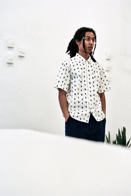 Universal Works Cactus Print Road Shirt - White
