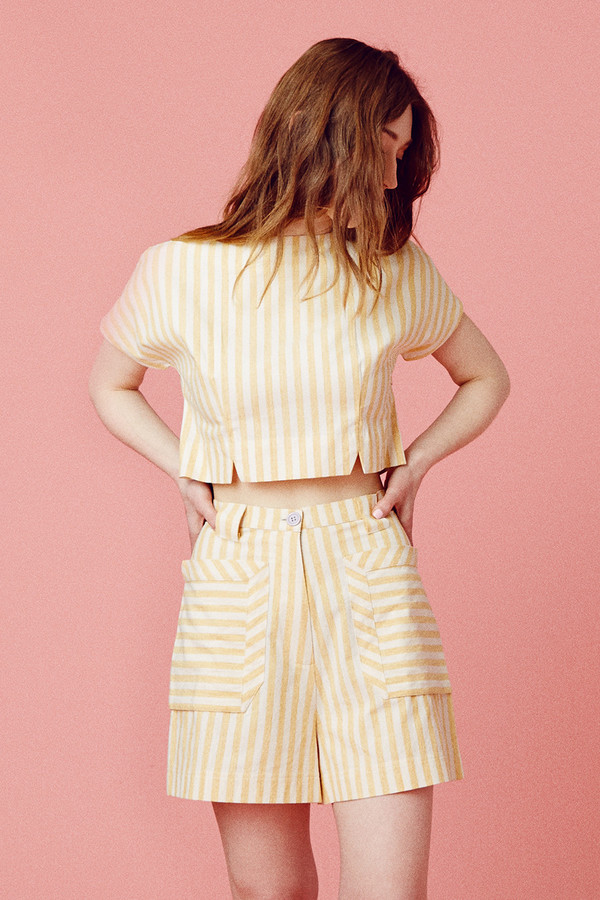 SSamantha Pleet pirit Blouse  - Yellow Stripe