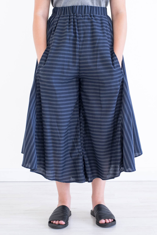 REIFhaus Grete Culotte Pant in Navy Stripe