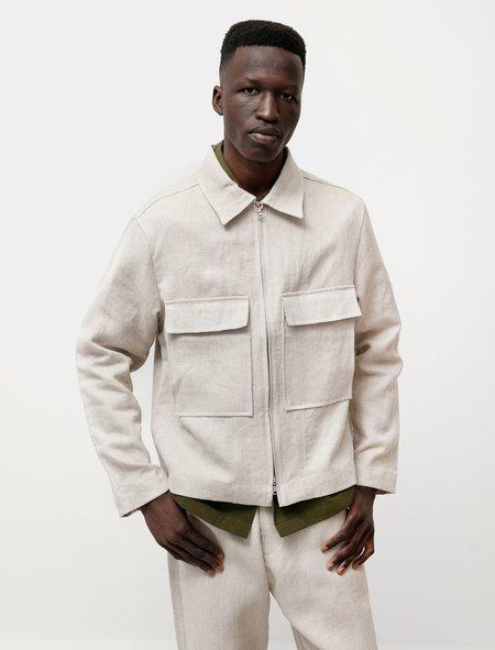 Evan Kinori Zip Jacket in Tumbled Hemp Canvas