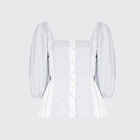 Ganni Cotton Puff Sleeve Top - BLOCK