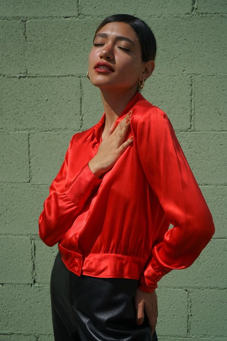 Vintage Saks Fifth Avenue Silk Blouse - Cherry Red